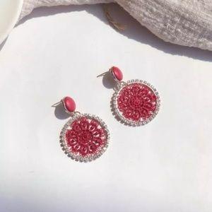 Red Lace Hoop Earrings